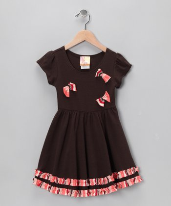 Brown Bow Dress - Toddler & Girls