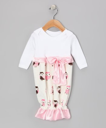 White & Pink Owl Ribbon Ruffle Gown