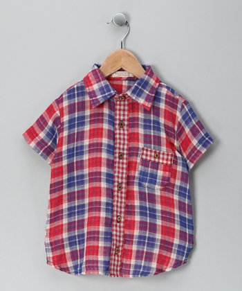 Red Plaid Magic Button-Up - Toddler