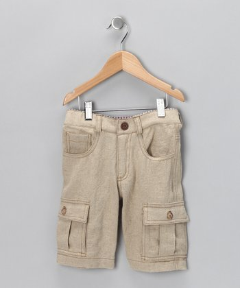 Khaki Treasure Linen-Blend Cargo Shorts - Toddler