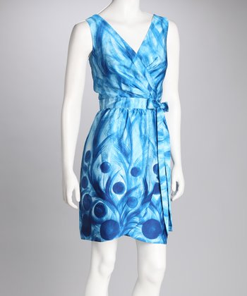 Blue Dot Tie-Waist Surplice Dress - Women