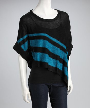 Blue & Black Stripe Cape-Sleeve Sweater