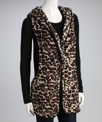 Brown & Black Leopard Hooded Vest