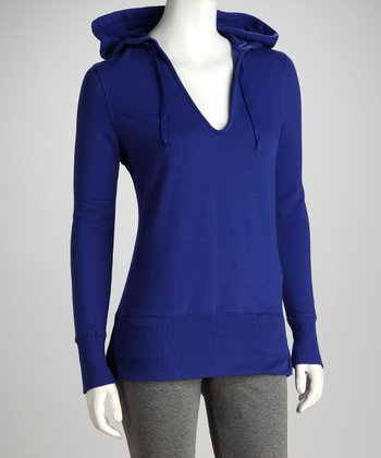 Electric Blue V-Neck Hoodie