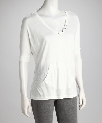 White V-Neck Burnout Tee