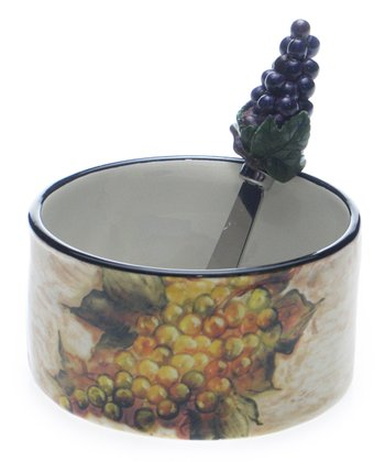 Grape Bunch Dip Bowl & Spreader