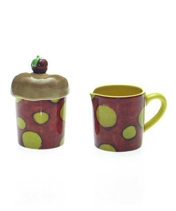 Green Dot Sugar Jar & Creamer Set