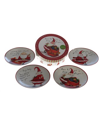 Certified Naughty Santa Canape Plate - Set of Four