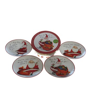 Certified Naughty Santa Dessert Plate - Set of Four