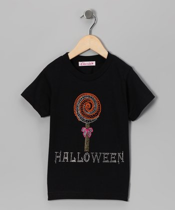 Black Rhinestone Candy Tee - Toddler & Girls