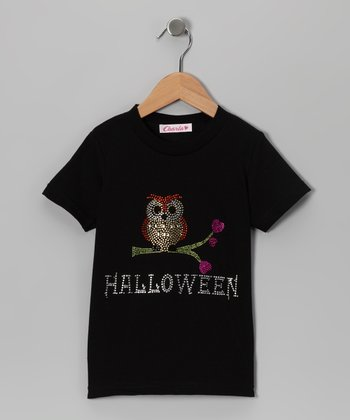 Black Rhinestone Owl Tee - Toddler & Girls