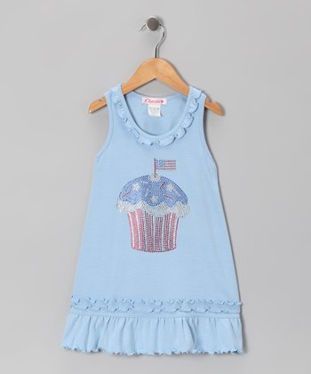 Baby Blue Rhinestone Cupcake Shift Dress - Toddler & Girls