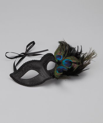 Black Peacock Glitter Mask