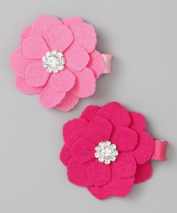 Hot Pink & Bubble Gum Pink Flower Felt Clip Set