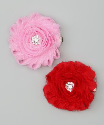 Red & Light Pink Shabby Chic Rhinestone Flower Clip Set