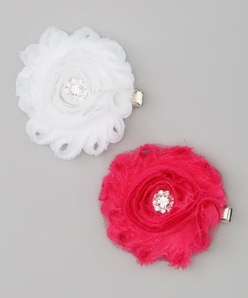 Hot Pink & White Shabby Chic Rhinestone Flower Clip Set