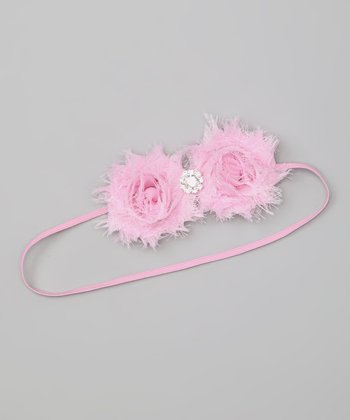 Light Pink Rhinestone Duo Flower Headband