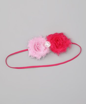 Hot Pink Rhinestone Flower Bow Headband