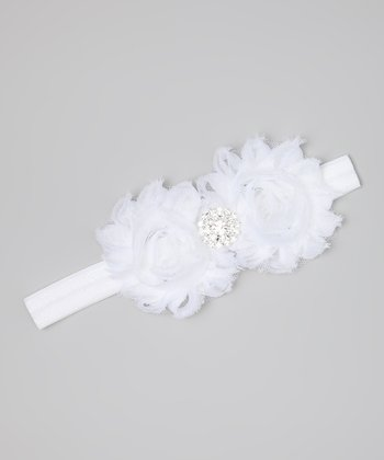 White Double Flower Rhinestone Headband