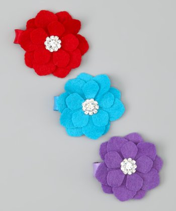 Red, Turquoise & Purple Flower Clip Set