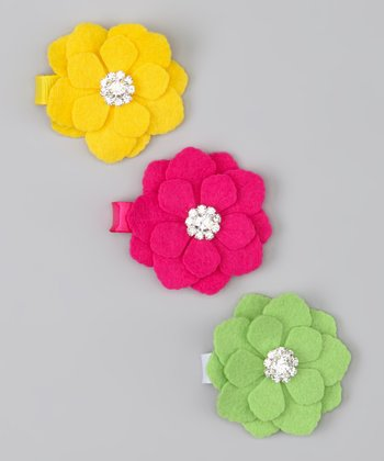 Yellow, Fuchsia & Lime Flower Clip Set