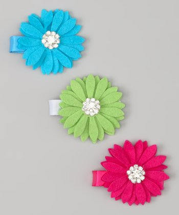Turquoise, Lime & Hot Pink Daisy Felt Clip Set