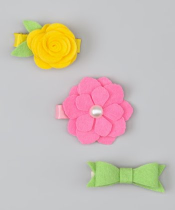 Yellow, Pink & Green Flower & Bow Felt Clip Set