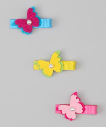 Blue, Yellow & Pink Butterfly Clip Set