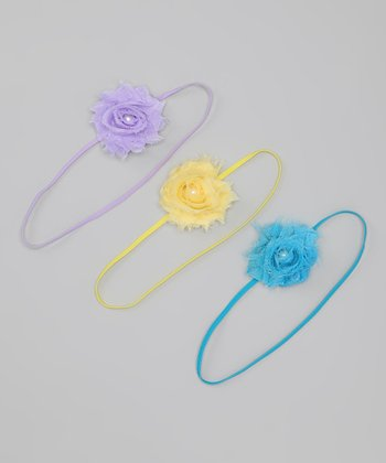 Lavender, Yellow & Turquoise Mini Shabby Flower Headband Set