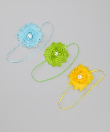 Blue, Green & Yellow Shabby Flower Headband Set