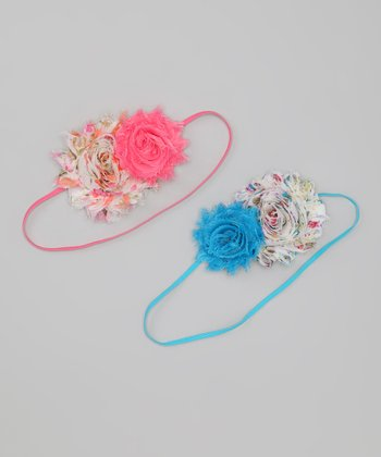 Pink & Turquoise Flower Headband Set