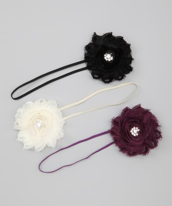 Black & Deep Purple Shabby Chic Headband Set