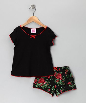 Black Hollywood Rose Tee & Shorts - Toddler & Girls