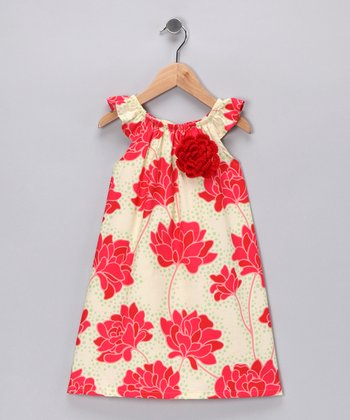 Red & Spring Green Floral Dress - Toddler