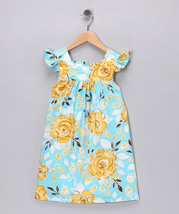 Blue Floral Angel-Sleeve Dress - Infant, Toddler & Girls