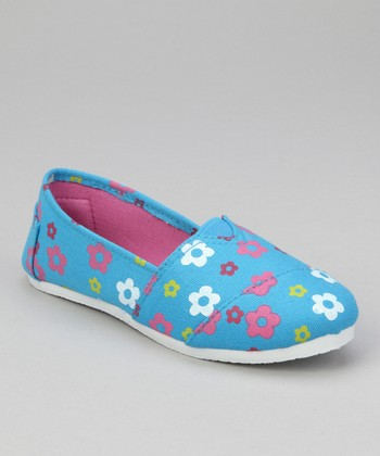 Turquoise Floral Slip-On Shoe