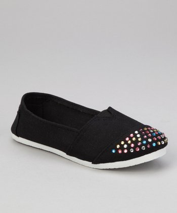 Black Rhinestone Slip-On Shoe
