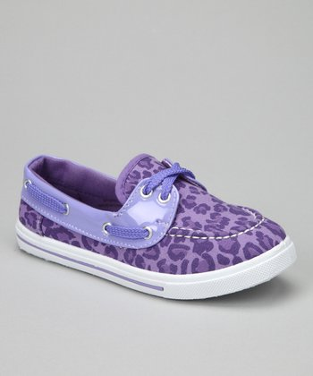 Purple Leopard Boat Shoe