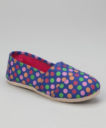 Navy Polka Dot Slip-On Shoe
