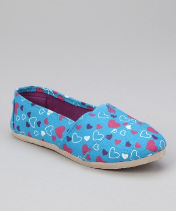Turquoise Heart Slip-On Shoe