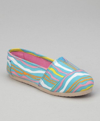 Turquoise Zebra Slip-On Shoe