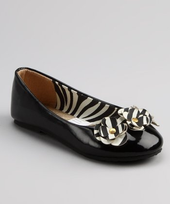 Chatties Black Zebra Patent Ballet Flat
