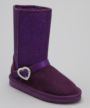 Purple Heart Charm Glitter Boot