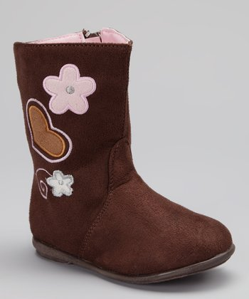 Brown Heart & Flower Embroidery Boot