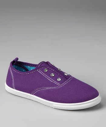 Purple Rhinestone Slip-On Sneaker