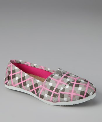 Chatties Gray Plaid Slip-On Shoe