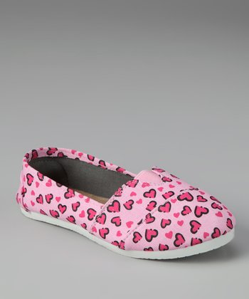 Chatties Pink Leopard Hearts Slip-On Shoe