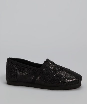 Chatties Black Sparkle Slip-On Shoe
