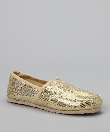 Chatties Light Gold Sparkle Slip-On Shoe