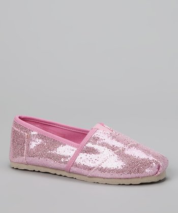 Chatties Light Pink Sparkle Slip-On Shoe